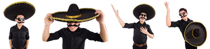 The funny man wearing mexican sombrero hat isolated on white Stock Image