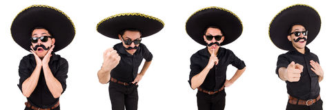 The funny man wearing mexican sombrero hat isolated on white Stock Images