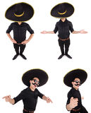 The funny man wearing mexican sombrero hat isolated on white Royalty Free Stock Photo