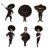 The funny man wearing mexican sombrero hat isolated on white. Funny man wearing mexican sombrero hat isolated on white Royalty Free Stock Photography