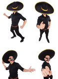 The funny man wearing mexican sombrero hat isolated on white. Funny man wearing mexican sombrero hat isolated on white Stock Photos