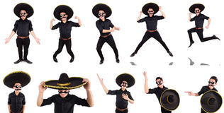 The funny man wearing mexican sombrero hat isolated on white. Funny man wearing mexican sombrero hat isolated on white Stock Image