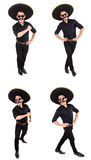 The funny man wearing mexican sombrero hat isolated on white. Funny man wearing mexican sombrero hat isolated on white Stock Photography