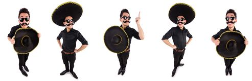 The funny man wearing mexican sombrero hat isolated on white. Funny man wearing mexican sombrero hat isolated on white Stock Images