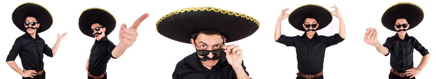 The funny man wearing mexican sombrero hat isolated on white. Funny man wearing mexican sombrero hat isolated on white Royalty Free Stock Image