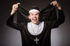 The funny man wearing nun clothing Royalty Free Stock Images