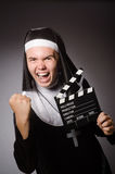 The funny man wearing nun clothing Stock Photography