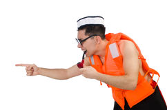 The funny man wearing orange safety vest Stock Photos