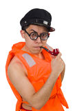 The funny man wearing orange safety vest Royalty Free Stock Photos