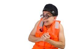 The funny man wearing orange safety vest Royalty Free Stock Image