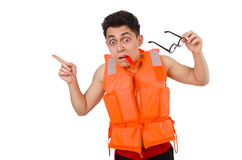 The funny man wearing orange safety vest Royalty Free Stock Images