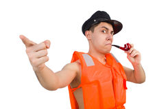 The funny man wearing orange safety vest Stock Photography