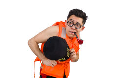 The funny man wearing orange safety vest Stock Photo
