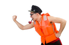 Funny man wearing orange safety vest Stock Images