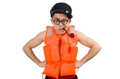 Funny man wearing orange safety vest Stock Photo