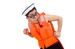 Funny man wearing orange safety vest Stock Photos