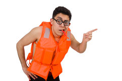 Funny man wearing orange safety vest Royalty Free Stock Photos