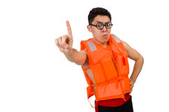 Funny man wearing orange safety vest. The funny man wearing orange safety vest Royalty Free Stock Photos