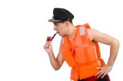 Funny man wearing orange safety vest Royalty Free Stock Images