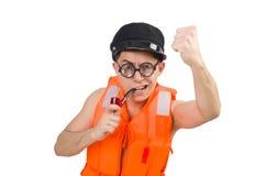 Funny man wearing orange safety vest Royalty Free Stock Photos