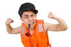 The funny man wearing orange safety vest Stock Photo
