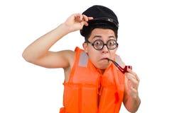 The funny man wearing orange safety vest Stock Images