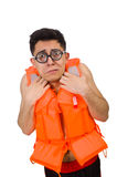 The funny man wearing orange safety vest. Funny man wearing orange safety vest Stock Image