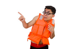 The funny man wearing orange safety vest Royalty Free Stock Photography