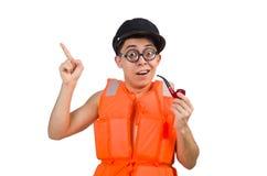 The funny man wearing orange safety vest Stock Image