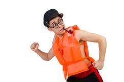 Funny man wearing orange safety vest Stock Photo