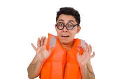 The funny man wearing orange safety vest. Funny man wearing orange safety vest Stock Images