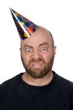 Funny man wearing a party hat Stock Photos