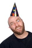 Funny man wearing a party hat Royalty Free Stock Images