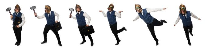 The funny man wearing pilot helmet and goggles royalty free stock images