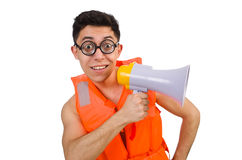 Funny man wearing vest with loudspeaker Royalty Free Stock Image