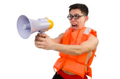 Funny man wearing vest with loudspeaker. The funny man wearing vest with loudspeaker Stock Photo