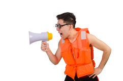Funny man wearing vest with loudspeaker Stock Photos