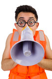 Funny man wearing vest with loudspeaker. The funny man wearing vest with loudspeaker Stock Image