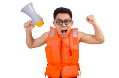 Funny man wearing vest with loudspeaker Royalty Free Stock Images