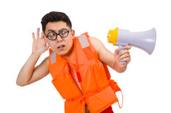 Funny man wearing vest with loudspeaker. The funny man wearing vest with loudspeaker Royalty Free Stock Photo