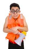 Funny man wearing vest with loudspeaker Stock Image