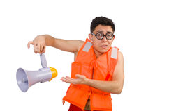 Funny man wearing vest with loudspeaker Stock Photography