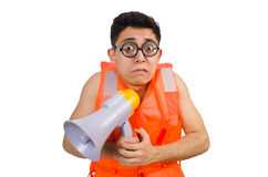 Funny man wearing vest with loudspeaker Stock Photo