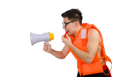 Funny man wearing vest with loudspeaker Royalty Free Stock Photo