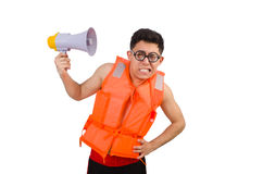 Funny man wearing vest with loudspeaker Royalty Free Stock Photography