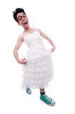 Funny man wearing in woman dress Royalty Free Stock Images