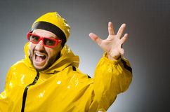 Funny man wearing yellow suit Stock Image