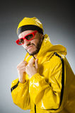 Funny man wearing yellow suit Royalty Free Stock Image