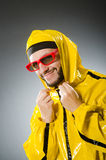 Funny man wearing yellow suit Royalty Free Stock Photography