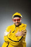 Funny man wearing yellow suit Royalty Free Stock Photo